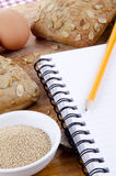Roulis de graine de citrouille et un livret explicatif pour des notes Photo libre de droits