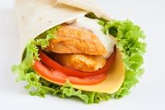 Roulis de lavash avec le poulet photo libre de droits