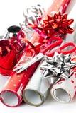 Roulis de papier d'emballage de Noël Photo libre de droits