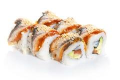 Roulis de sushi avec l'anguille Photo stock