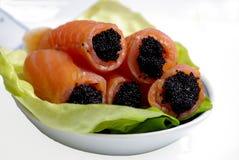 Roulis et caviar de saumons Images libres de droits