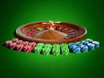 Roullete. Roulette with chips on green background Stock Image