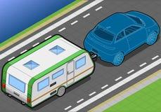 Roulotte isométrique et voiture dans la vue arrière Image stock
