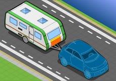 Roulotte isométrique et voiture dans la vue de police Images libres de droits