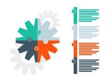 Round łamigłówki przekładni prezentaci diagrama infographic szablon z liczącym objaśniającym teksta polem Wektorowej grafiki temp ilustracja wektor