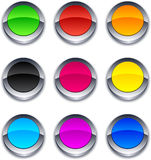 Round 3d buttons. Blank 3d round buttons. Vector Royalty Free Stock Photography