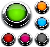 Round 3d buttons. Blank 3d round buttons. Vector Stock Photo