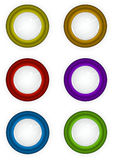 Round 3d techno reflective colored button icons. 6 round 3d techno reflective colored button icons Royalty Free Stock Images