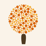 Round abstract autumn tree icon in orange and brown colors. Stock Image