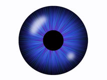 Round abstract eye. A round, 3D illustration resembling an eye with a blue iris.  White background Stock Images