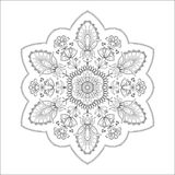 Round abstract floral ornament. Ethnic mandala isolated on white of coloring book. Painting page for adults. Islam, Arabic, Indian, ottoman motifs. Vector art Stock Image