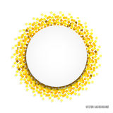 Round abstract frame. Round frame with a sheet of paper for your text on abstract background with sparkles or confetti.Can be used for holiday flyers, banners royalty free illustration