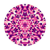Round abstract geometric triangle kaleidoscopic mandala design - symmetric vector pattern art from colored triangles Royalty Free Stock Image