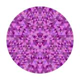 Round abstract triangle kaleidoscopic mandala design - symmetrical vector pattern graphic from colored triangles Royalty Free Stock Images