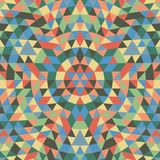 Round geometrical triangle mandala background - symmetrical vector pattern design from colorful triangles Royalty Free Stock Photo