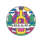 Round abstract logo template for beer festival. Colorful line art with bottles, fir trees, sun and sky. Original vector. Round abstract logo template for beer Royalty Free Stock Photos