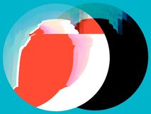 Round abstract shapes, digital art, glitch effect royalty free illustration