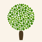Round abstract summer tree icon in green and brown colors. Stock Image