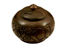 Round African wooden box Royalty Free Stock Images
