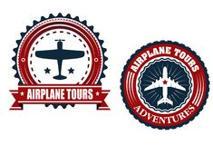 Round Airplane tours banners. Airplane tours badges or emblems with the silhouette of a plane inside a circular frame with text Airplane Tours one in a banner vector illustration