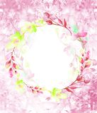 Round akwareli rama, poczt?wka, wianek kwiaty, ga??zki, ro?liny, jagody ptaka rocznik ?liczny ilustracyjny ustalony U?ywa w r??ny ilustracja wektor