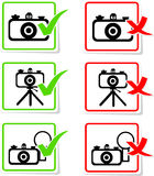 Round alowing and prohibiting camera signs.  Stock Photos