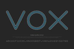 Vox. Round alphabet letters and numbers. vector, font type design. sport style, regular lettering. geometric, thin line typesetting. dynamic typeface Royalty Free Stock Photos