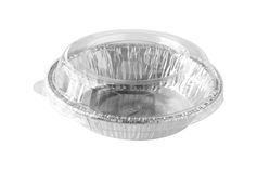 Round Aluminium Foil Food Tray Clear Cover isolated on white bac Royalty Free Stock Photo
