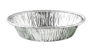 Round Aluminium Foil Food Tray isolated on white background. An empty Round Aluminium Foil Food Tray isolated on white background Royalty Free Stock Photos