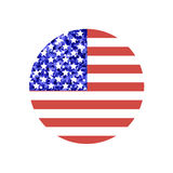 Round american flag. Round shape american flag with glitter inside made in . Beautiful graphic design element for holiday greeting card, event poster or Royalty Free Stock Image