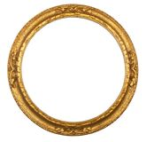 Round antique gilt picture frame. Round circular antique gilt gold picture frame Royalty Free Stock Image