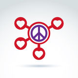 Round antiwar and love vector connected icons, peace and loving Royalty Free Stock Photos
