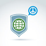 Round antiwar vector icon, green planet on a shield Royalty Free Stock Images