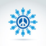 Round antiwar vector icon, no war symbol. People of the world co Royalty Free Stock Photography