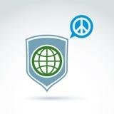 Round antywojenna wektorowa ikona, zielona planeta na osłonie Obrazy Royalty Free