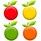 Round Apples Clip Art. An illustration featuring an assortment of apples for use as icons or clip art in red, yellow, green and orange. Well, ok, the last one Royalty Free Stock Photo