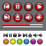 Round application buttons with media player symbols Royalty Free Stock Images