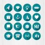 Round aqua ikony Zdjęcie Stock