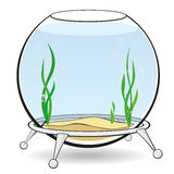 A round aquarium for fish. Fishbowl for fish with blue water, algae and bubbles on the stand. Aquarium on a white background. Vector cartoon illustration Stock Images