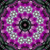 Round arabesque mandala in flowers with aquarelle effect. Arabesque mandala in flowers with aquarelle effect royalty free stock images