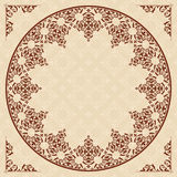 Round arabic vector ornament on light beige patter Stock Photography
