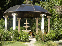 Round arbor with the fountain in Yalta.  Royalty Free Stock Image