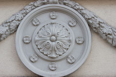 Round architectural element with flowers Royalty Free Stock Images