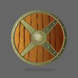 Round armor shield made of wood and metal. Vector war protective element. Stock Photo