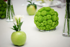 Round arrangement on the Bridal table in green color and apple. Wedding floristry Stock Photos