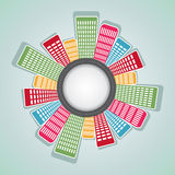 Round arrangement of colorful apartment Royalty Free Stock Image