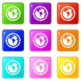 Round arrows around world planet icons 9 set Royalty Free Stock Photography