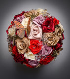 Round artificial flowers bouquet Stock Photo