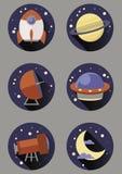 Round astronautyczne ikony Fotografia Royalty Free