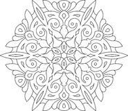 Round asymmetrical decorative element - lace mandala in zentangl Stock Photo